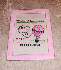 Tablou brodat cu anunț naștere - Balon