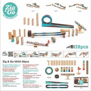 Zig & Go Djeco, set de constructie trasee, 28 piese