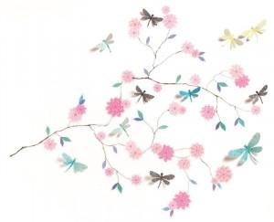 Abtibilduri de perete Flori si libelule