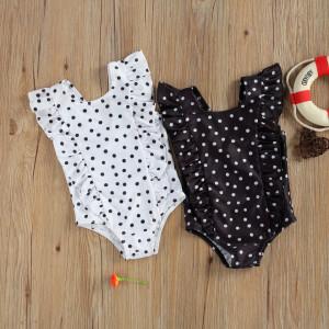 Costum de baie cu bulinute alb/negru