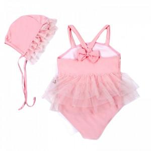 Costum de baie Roz cu caciulita
