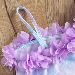 Costum de baie Sirena cu floricele aplicate