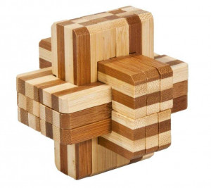 Joc logic IQ din lemn bambus Block cross