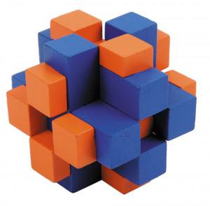 Joc logic IQ din lemn bambus Cub cross colorat