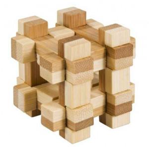 Joc logic IQ din lemn bambus in cutie metalica-11