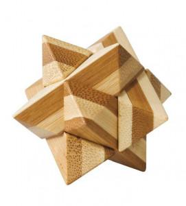 Joc logic IQ din lemn bambus Star, cutie metal