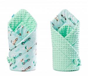 Paturica nou-nascut Sensillo Minky Wrap Verde 80x80 cm