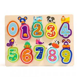 Puzzle din lemn - Numere si animalute