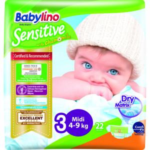 Scutece Babylino Sensitive N3 4-9kg/22 buc