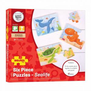 Set 3 puzzle din lemn - Lumea acvatica