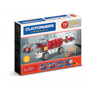 Set de construit Clicformers- Masini de interventie, set 73 piese