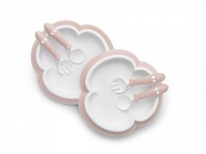 BabyBjorn - 2 Seturi hranire: farfurie, lingurita si furculita pentru bebe, Powder Pink