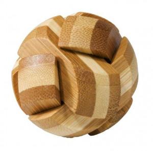 Joc logic IQ din lemn bambus Ball, cutie metal