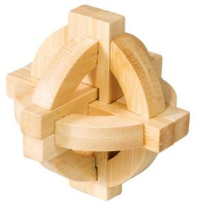 Joc logic IQ din lemn bambus Double disk puzzle 3d