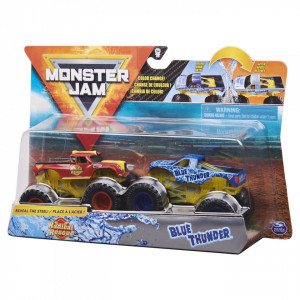 MONSTER JAM SET 2 MASINUTE RADICAL RESCUE SI BLUE THUNDER COLOR CHANGE