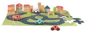 Puzzle gigant oras Egmont, cu vehicule si cuburi