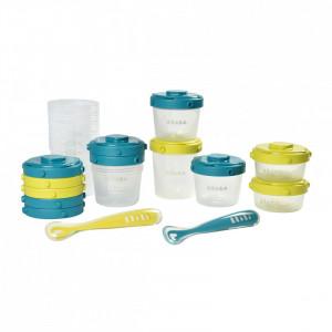 Set 12 recipiente ermetice si 2 lingurite silicon - Blue