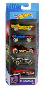 SET 5 MASINI HOT WHEELS CU ROTI FLUORESCENTE