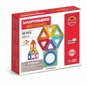 Set magnetic de construit- Magformers Basic Plus, 26 piese