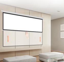 Ecran proiectie manual, perete/tavan, 200 x 113 cm, Blackmount, Format 16:9