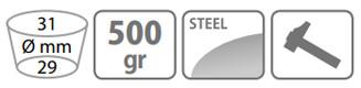 Caracteristici sapa Stocker 500 g cu lama inima si doi colti (cu coada)