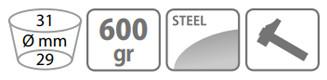 Caracteristici sapa Stocker 600 g cu lama inima si doi colti (fara coada)