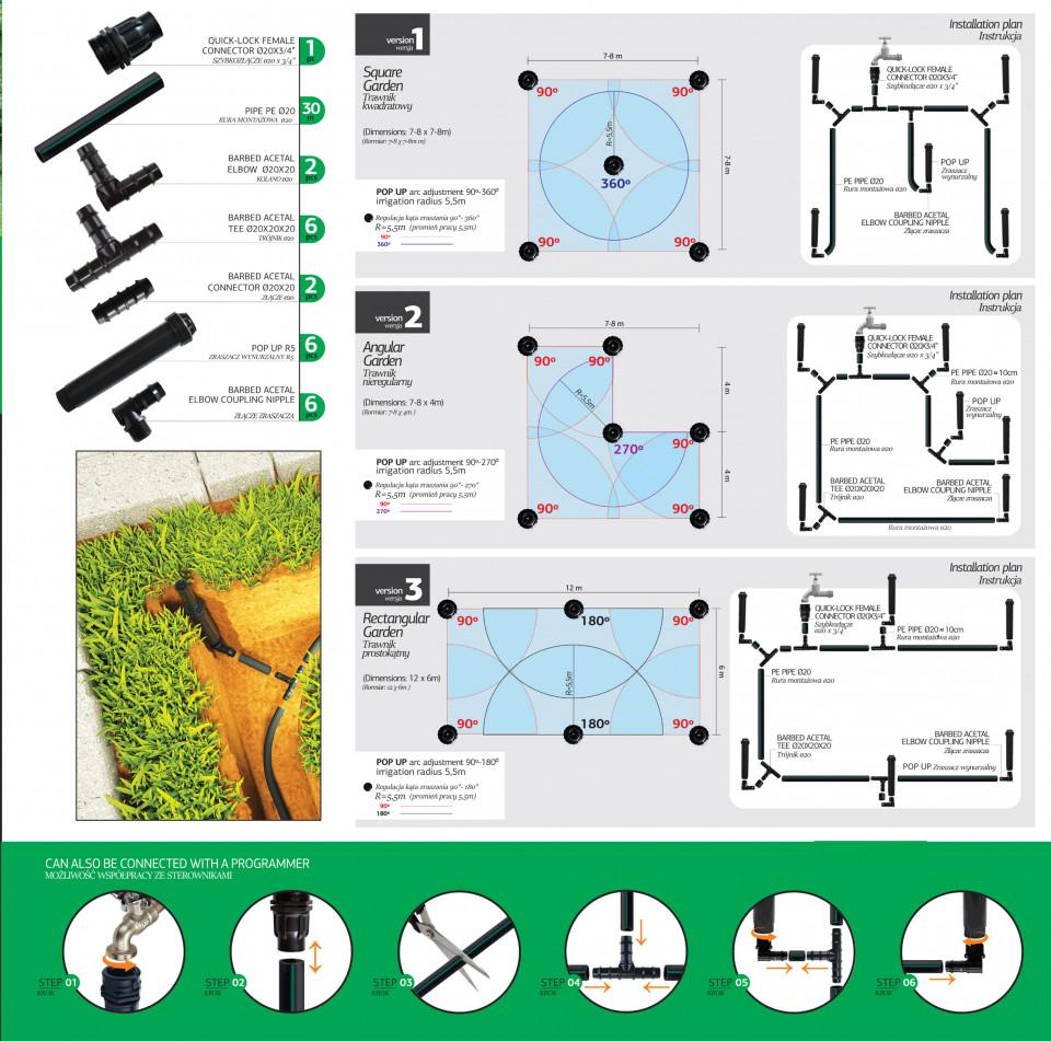 Kit irigare gazon pentru 70 mp cu adaptor pentru conectarea la robinet, Agrodrip & Eurodrip Irigatii