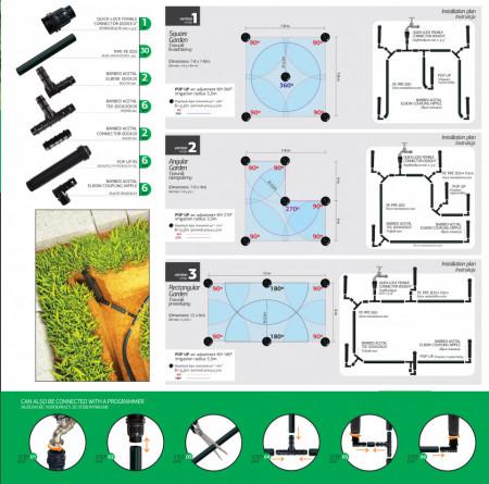 Kit irigare gazon 70 mp cu aspersie si adaptor pentru conectarea la robinet, Agrodrip & Eurodrip Irigatii