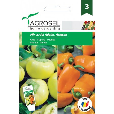 Mix seminte ardei gras galben Ariesan si ardei gras portocaliu Adelin (1 gr), Agrosel