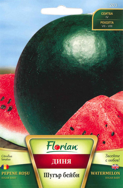 Pepene Rosu Sugar Baby (100 gr) Seminte de Pepeni Verzi Coaja Verde Inchis Florian