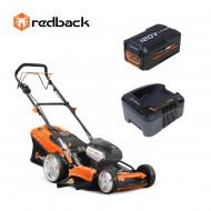 Redback Pachet EA156V+EA30+EC440 Masina de tuns gazon acumulatori 120V, 520mm, 60L, autopropulsie, acumulator 120V/3Ah, incarcator 120V/3.5A