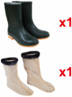 Cizme Kaki-Ambra pt Protectie 1 Per + Ciorapi pentru Cizme din PVC 1 Per Promo / M: 42