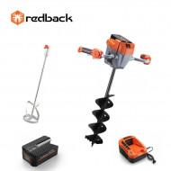 Redback Pachet E808T+E805C+E806C+EP20+EC20 Cap motor antrenare, paleta 120mm, burghiu 150mm, acumulator 40V/2Ah, incarcator 40V/1A