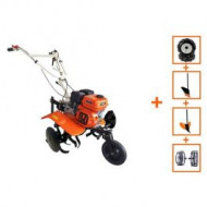 Pachet Motocultor cu motor termic New 750 Eco, roti metalice, plug, rarita, O-Mac
