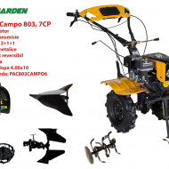 Pachet motocultor Campo 803, benzina, 7CP, 2+1 trepte, 2+1+1 freze, plug bilonat, accesorii PR2, ulei motor si transmisie incluse
