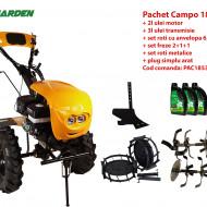 Pachet motocultor Campo 1853, benzina, EURO5, 18CP, 2+1 trepte, accesorii, ulei motor si transmisie incluse