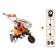 Pachet Motocultor cu motor termic New 750-S, plug, rarita si roti metalice, O-Mac
