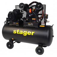 Stager HMV0.6/200-10 compresor aer, 200L, 10bar, 600L/min, trifazat, angrenare curea