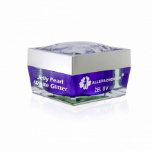 Jelly Pearl White Glitter Gel UV 50 ml - Allepaznokcie (alb laptos )