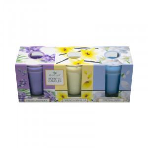 Set 3 lumanari parfumate, Lavanda, Vanilie, Lana