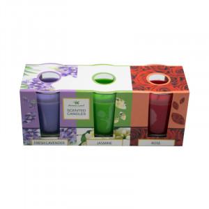 Set 3 lumanari parfumate, Trandafir, Iasomie, Lavanda