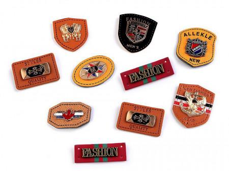 Embleme decorative din metal și piele, mix modele