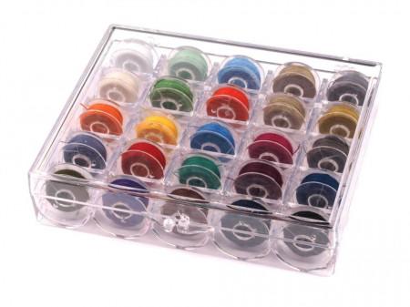 Poze Bobine cu ață în cutie de plastic