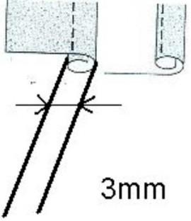 Piciorus pentru cusut tiv drept cu dubla indoire (latime 3mm) pe materiale subtiri pana la medii