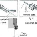 Piciorus pentru atasat bentita pe marginea materialului cu latime la gata de 7mm (bias preformant, fig.a, de 12mm sau neformat, fig.b , de 25mm)
