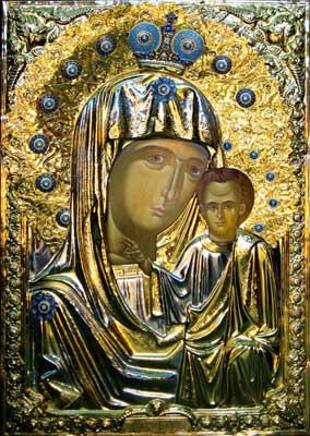 Icoana Ortodoxă pentru Iconostas, Maica Domnului,cu argint și aur