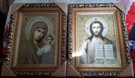 Icoane pictate pe panza- Maica Domnului si Mantuitorul Kazani