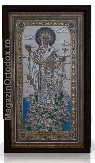 Icoana argint Maica Domnului, inramata cu sticla