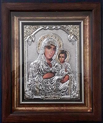 Icoana Maicii Domnului Ierusalima din argint,26cmx32cm