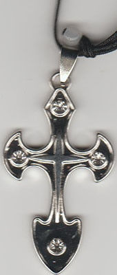 Colier Cruce metal cu piatra